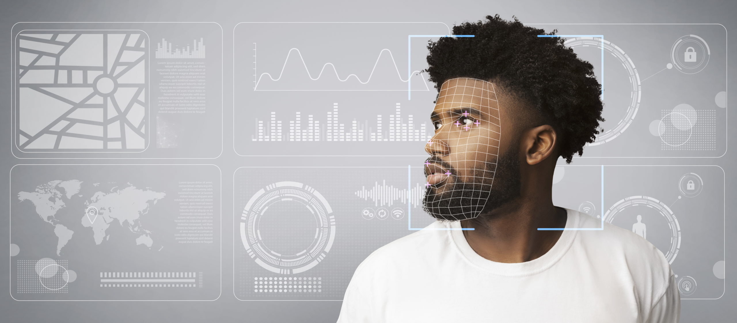 Man looking at data screen